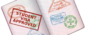 Passport with education visa approved stamped on a page